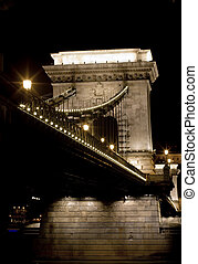 The Chain Bridge in Budapest at night. Sightseeing in...