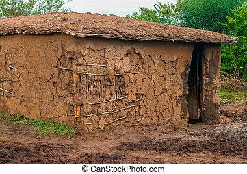 Traditional maasai mud hut, Kenya