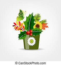 Floral pot isolated for your design