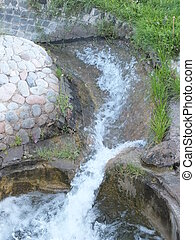 An artificial brook in the park