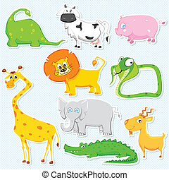 Animal Sticker - illustration of set of cute animal sticker