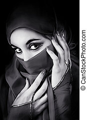 retrato, joven, musulmán, mujer