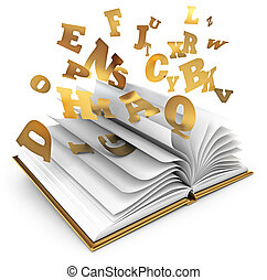 Magic book. Fairy tale - Letters flying out of an open book....