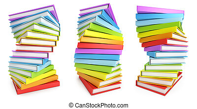 Stack of books with different perspectives White background...