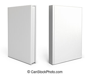 Front view of Blank book cover white White background 3d...