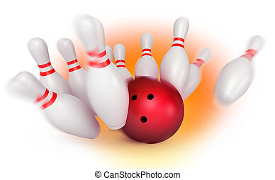 Bowling ball crashing into the pins. Depth of field focus on...