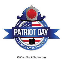 patriot day seal. fire fighters illustration design over...
