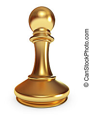 Golden pawn. White background. 3d render
