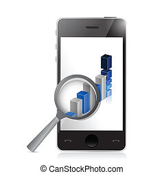 phone business and graph illustration design