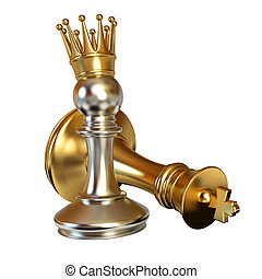 Pawn puts checkmate. Pawn with golden crown. Conceptual...