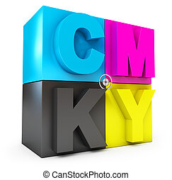CMYK cubes. Isolated on white background. 3d render