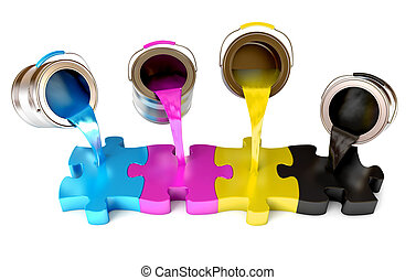 CMYK colors - Paint from the bucket fills in the puzzle view...