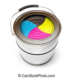 Cans of paint CMYK Concept Isolated on white background 3d...