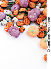 Trick or Treat - Colorful group of halloween candy in shape...