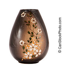 brown handmade clay vase flower paint on white - brown...