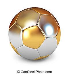 Gold Soccer Ball. White background. 3d render