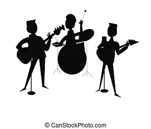 3 piece band in silhouette - band in silhouette over white...