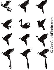 birds set in silhouette - fancy birds set with plumage
