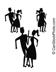fifties dancers in silhouette