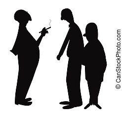 men talking in silhouette