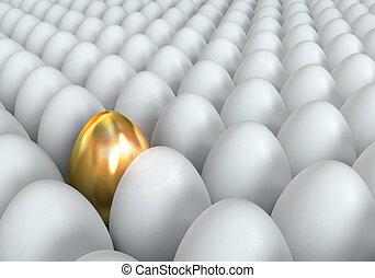 Golden egg, conceptual illustration, 3d render