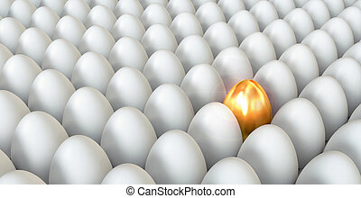 Golden egg standing out from the others. Conceptual...