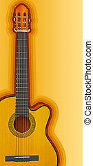 Classical acoustic guitar 3d render