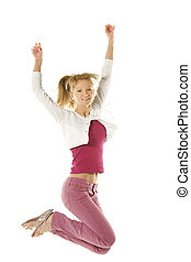 Jumping girl in pink jeans - Blonde girl in pink jeans...