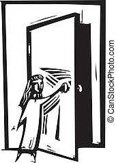 Open Door - Woodcut style expressionist image of a girl...