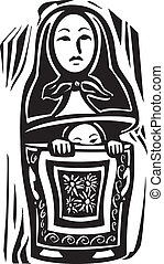 Russian Doll - woodcut style image of a a Russian nested...