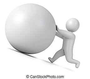 Man pushing a boulder as Sisyphus Isolated on white...