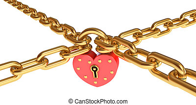 Padlock in a heart-shaped Gold chain Isolated on white...