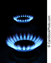 gas - Blue flames of gas stove in the dark...