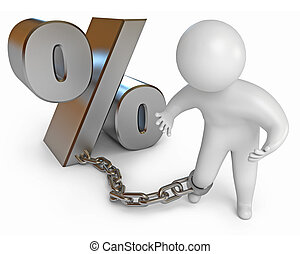 Credit debt. A man sits on a chain. Isolated on white...