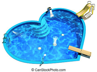 Pool in the form of a heart