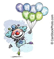 Clown with Balloons Saying Thank You - Boy Colors -...