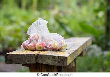 bolsa, manzanas, plástico