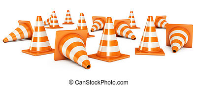 Traffic cones. Isolated on white background. 3d render