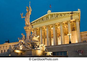 Parlament Vienna at night - Parliament Vienna, Austria on a...
