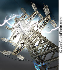 Lightning strike. High-voltage tower - Power Transmission...