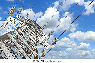Power Transmission Line. High-voltage tower sky background....