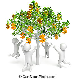 Dollar grows on a tree. Money Tree. People are pulling hand...