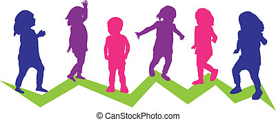Toddlers in motion - Six toddler silhouettes in a colorful...