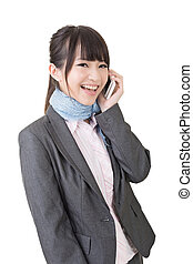 Asian business woman use cellphone Isolated on the white...