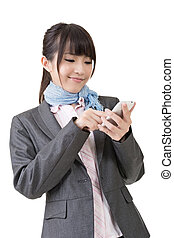 Asian business woman use cellphone. Isolated on the white...