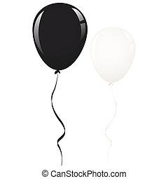 白, 黒,  balloon, リボン