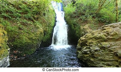 Bridal Veil Falls located in the Columbia River Gorge east...