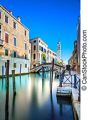 Venice San Giorgio dei Greci water canal and church campanile. Italy