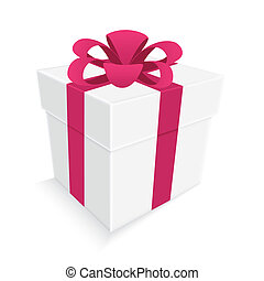 pink ribbon and white gift box isolated