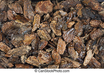 damp western bark nuggets background